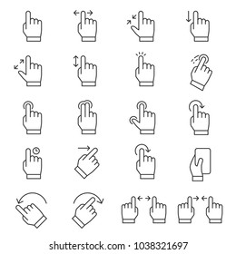 Touch screen gestures icon set, gesture thin line design. Line with Editable stroke