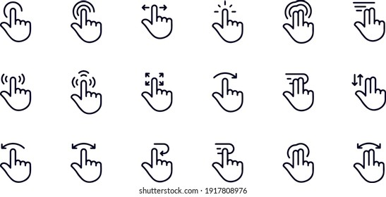 Touch Screen Gestures Line Icons VECTOR DESIGN