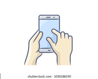 Touch screen hand gesture. Hand holding smartphone, finger touching screen. Vector illustration. Vector icon for a mobile app user interface or manual