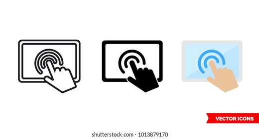 Touch screen icon of 3 types: color, black and white, outline. Isolated vector sign symbol.