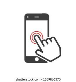 Touch Screen icon. Pointing of finger on the touch screen of the smartphone. Touching display by finger. Vector illustration in flat style. EPS 10.