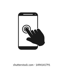 Touch screen icon template color editable. pointing on the touch screen of the smartphone symbol vector sign isolated on white background illustration for graphic and web design.