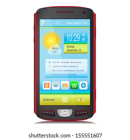 Touch Screen Mobile Phone isolated on white background. Black and red body colors. Content on display. Vector illustration.