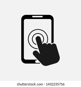 Touch screen smartphone icon isolated on white background. Vector illustration. Eps 10.