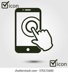 Touch screen smartphone sign icon. Hand pointer symbol. Flat design style. Vector EPS 10.