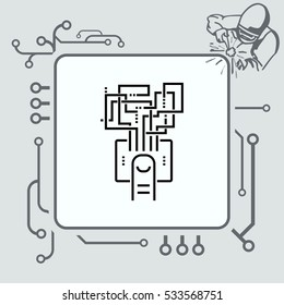 touch screen technology icon, vector illustration. Flat design style.