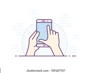 Touch screen zoom gesture icon. Smartphone screen with gesture. Hand holding smartphone, finger touching screen. Vector illustration.
