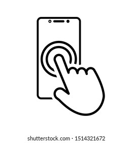 Touch smartphone icon with hand for your projects. Vector illustration.