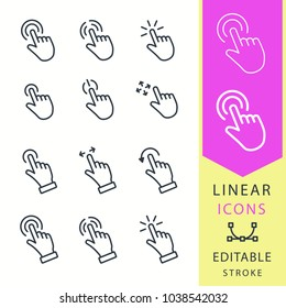 Touch vector icons set. Black illustration isolated for graphic and web design. Editable stroke. Fnger, clicking, hand, ets.