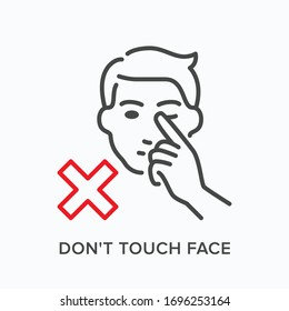 Touching face line icon. Vector outline illustration taking hands away from face. Warning hygiene in pandemic pictogram for illness prevention