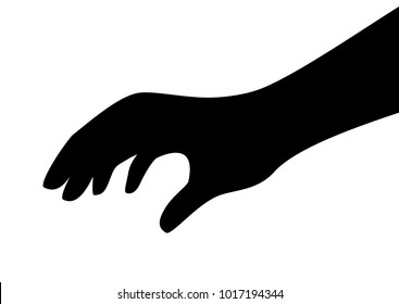 Touching hand vector silhouette isolated on white background