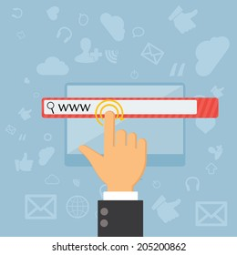 touching web browser address bar with www sign