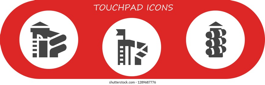 touchpad icon set. 3 filled touchpad icons. Simple modern icons about  - Slide