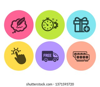 Touchpoint, Copyright chat and Add gift icons simple set. Cogwheel timer, Free delivery and Ram signs. Touch technology, Speech bubble. Business set. Flat touchpoint icon. Circle button. Vector