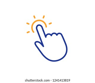 Touchpoint line icon. Click here sign. Touch technology symbol. Colorful outline concept. Blue and orange thin line color icon. Touchpoint Vector