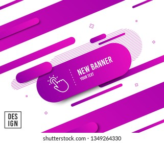 Touchpoint line icon. Click here sign. Touch technology symbol. Diagonal abstract banner. Linear touchpoint icon. Geometric line shapes. Vector