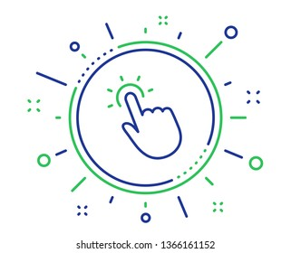 Touchpoint line icon. Click here sign. Touch technology symbol. Quality design elements. Technology touchpoint button. Editable stroke. Vector