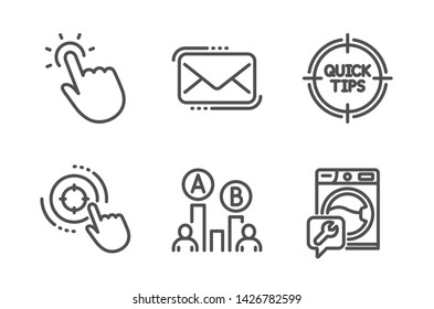 Touchpoint, Seo target and Messenger mail icons simple set. Tips, Ab testing and Washing machine signs. Touch technology, Click aim. Technology set. Line touchpoint icon. Editable stroke. Vector