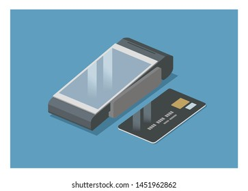 touchscreen EDC machine with credit card, simple isometric illustration