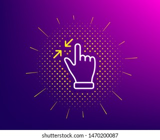 Touchscreen gesture line icon. Halftone pattern. Zoom out sign. Action arrows symbol. Gradient background. Touchscreen gesture line icon. Yellow halftone pattern. Vector