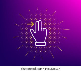 Touchscreen gesture line icon. Halftone pattern. Slide right arrow sign. Swipe action symbol. Gradient background. Touchscreen gesture line icon. Yellow halftone pattern. Vector