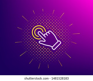 Touchscreen gesture line icon. Halftone pattern. Click hand sign. Push action symbol. Gradient background. Touchscreen gesture line icon. Yellow halftone pattern. Vector