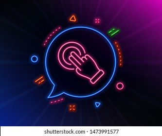 Touchscreen gesture line icon. Neon laser lights. Click hand sign. Push action symbol. Glow laser speech bubble. Neon lights chat bubble. Banner badge with touchscreen gesture icon. Vector