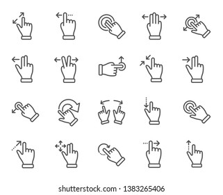 Touchscreen gesture line icons. Hand swipe, Slide gesture, Multitasking icons. Touchscreen technology, tap on screen, drag and drop. Smartphone mobile app or user interface. Vector