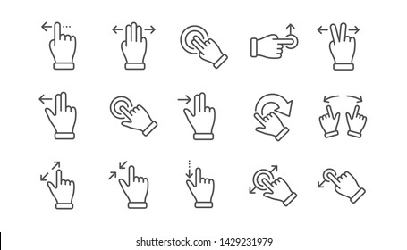 Touchscreen gesture line icons. Hand swipe, Slide gesture, Multitasking icons. Touchscreen technology, tap on screen, drag and drop. Linear set. Vector