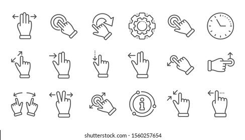 Touchscreen gesture line icons. Hand swipe, Slide gesture, Multitasking icons. Touchscreen technology, tap on screen, drag and drop. Linear set. Quality line set. Vector