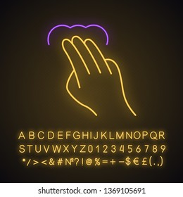Touchscreen gesture neon light icon. Tap, 3x tap, click, double tap, drag, double click gesturing. Using sensory devices. Glowing sign with alphabet, numbers and symbols. Vector isolated illustration