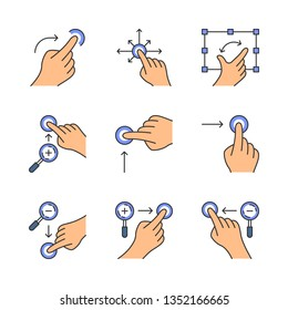 Touchscreen gestures color icons set. Vertical scroll up and horizontal scroll right gesturing. Zoom in vertical, zoom out horizontal. Drag finger all directions. Isolated vector illustrations