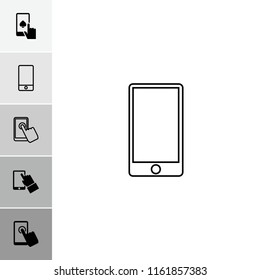 Touchscreen icon. collection of 6 touchscreen filled and outline icons such as phone. editable touchscreen icons for web and mobile.