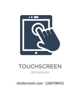 touchscreen icon vector on white background, touchscreen trendy filled icons from Technology collection, touchscreen vector illustration