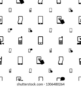 touchscreen icons pattern seamless white background. Included editable filled phone, message on phone, wavy phone, old pointer on display icons. touchscreen icons for web and mobile.
