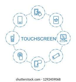 touchscreen icons. Trendy 8 touchscreen icons. Contain icons such as finger on display, message on phone, Poker on phone, phone, wavy phone. touchscreen icon for web and mobile.