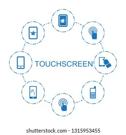touchscreen icons. Trendy 8 touchscreen icons. Contain icons such as Poker on phone, old phone, mobile phone music, phone. touchscreen icon for web and mobile.