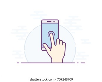 Touchscreen press and hold gesture icon for smartphone. Vector icon for a mobile app user interface or manual. Vector illustration.