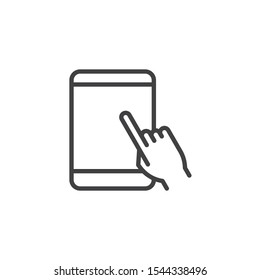Touchscreen tablet display line icon. linear style sign for mobile concept and web design. Hand touch tablet screen outline vector icon. Symbol, logo illustration. Vector graphics