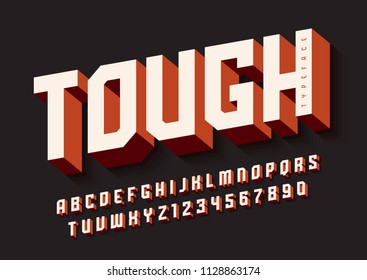 The Tough bold display font design, alphabet, typeface, letters and numbers, typography. Swatch color control.