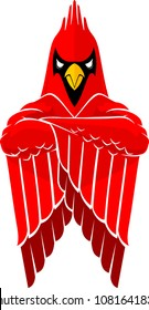 Tough Cardinal Bird Mascot, crossed arms