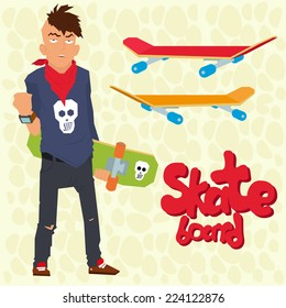 tough guy with a skateboard and fashionable hairstyle. punk rock and skateboard. teenager. ekstrimal. vector illustration in a flat style.