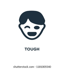 Tough icon. Black filled vector illustration. Tough symbol on white background. Can be used in web and mobile.