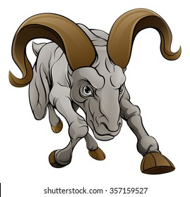 A tough looking ram sheep sports mascot cartoon character charging from the front.