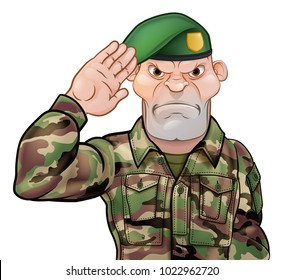 A tough looking saluting soldier cartoon character wearing a green beret
