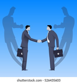 Tough negotiations business concept. Confident businessmen standing opposite each other and shaking each other hands, but their shadows are ready to fight.