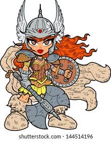 Tough Sexy Anime Manga Warrior Princess With Battle Axe and Shield