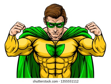 A tough superhero cartoon super hero character or sports mascot