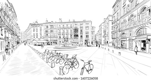 Toulouse, France. Hand drawn sketch. Vector illustration.