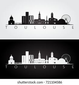 Toulouse skyline and landmarks silhouette, black and white design, vector illustration.